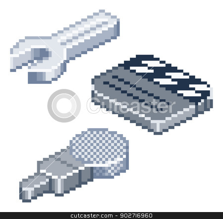 Pixel retro style isometric icons stock vector clipart, Some retro pixel style icons in isometric view. Spanner or wrench, film clapper-board and microphone icons. by Christos Georghiou
