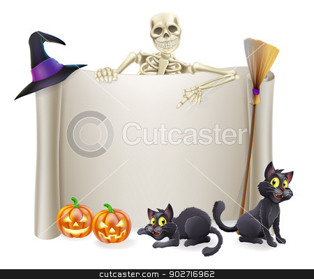 Halloween Skeleton Scroll stock vector clipart, A Halloween scroll sign with a skeleton character above the banner and pumpkins and witch's cats, hat and broomstick by Christos Georghiou