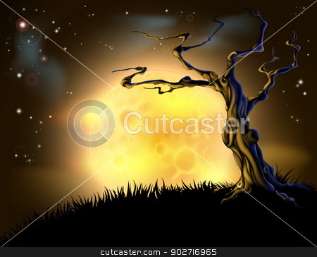 Orange Halloween Moon Tree Background stock vector clipart, A spooky scary orange Halloween background scene with full moon, clouds, hill, and scary tree by Christos Georghiou