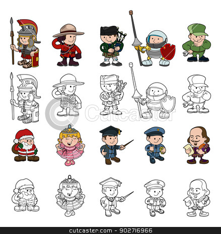 Cartoon people set stock vector clipart, A set of cartoon people or children playing dress up. Color and black and white outline versions included. by Christos Georghiou