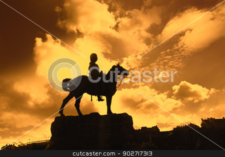 Boer War Monument In Princes Street Gardens in the sunset stock photo, Boer War Monument In Princes Street Gardens in the sunset by Juliet Photography