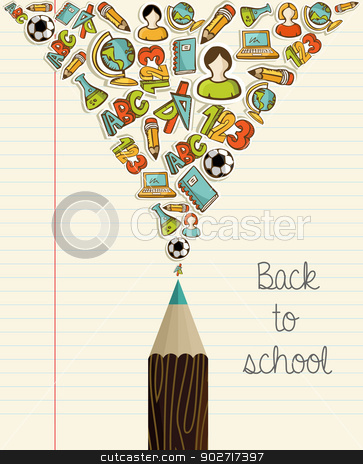 Education icons back to school pencil. stock vector clipart, Back to School icons education wood pencil over paper sheet background. Vector layered for easy personalization. by Cienpies Design