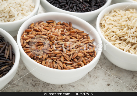 brown rice grain stock photo, a small bowl of brown rice grain among bowls of other grains by Marek Uliasz