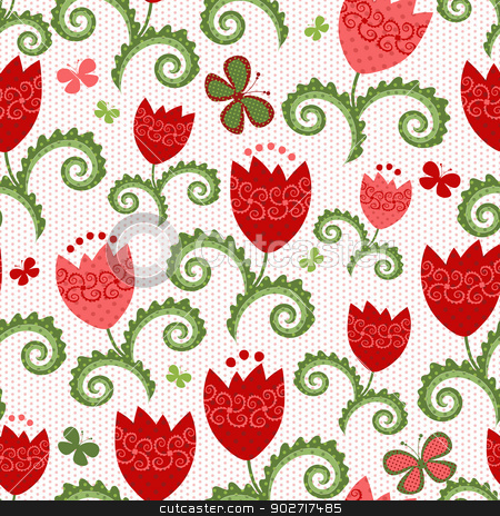 Spring seamless pattern stock vector clipart, Spring white seamless pattern with red tulips and butterflies and dots (vector) by Olga Drozdova