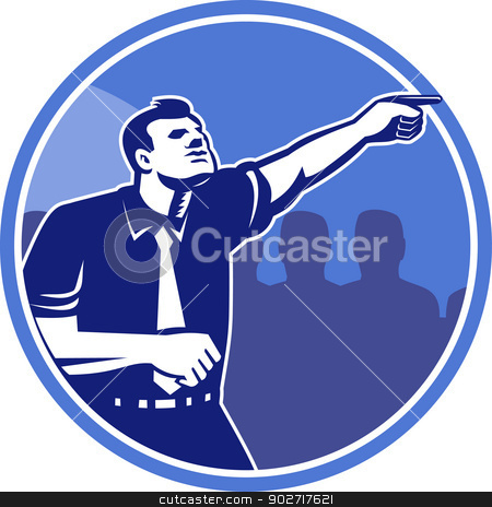Businessman Pointing Forward Woodcut stock vector clipart, Illustration of a businessman pointing forward viewed from side with crowd of people in background set inside circle done in retro woodcut style. by patrimonio