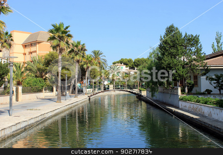 Alcudia canal stock photo, Scenic view of canal in Alcudia old town, Majorca, Spain. by Martin Crowdy