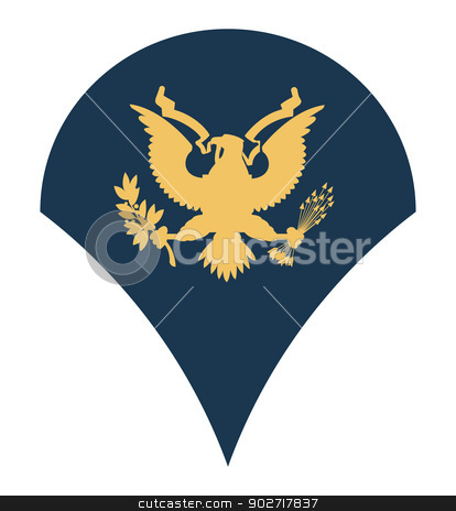 American army specialist insignia stock photo, American army specialist insignia rank badge isolated on white background.  by Martin Crowdy