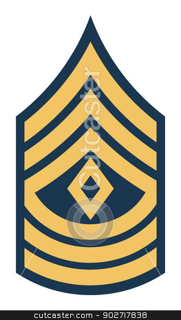 American First Sergeant insignia rank badge stock photo, American First Sergeant insignia rank badge isolated on white background. by Martin Crowdy