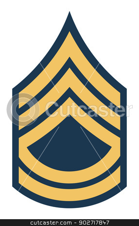 American Sergeant First Class insignia rank stock photo, American Sergeant First Class insignia rank badge isolated on white background. by Martin Crowdy