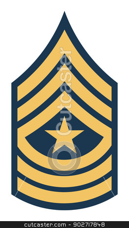American sergeant major insignia rank stock photo, American sergeant major insignia rank badge isolated on white background.  by Martin Crowdy