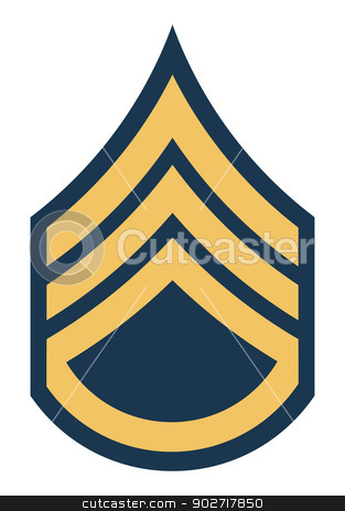 American Staff Sergeant stock photo, American Staff Sergeant insignia rank badge isolated on white background.  by Martin Crowdy