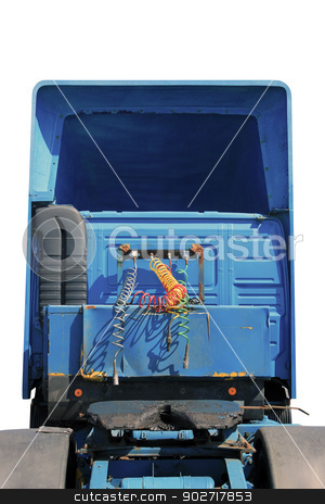 Articulated lorry or truck stock photo, Articulated lorry or truck isolated on white background. by Martin Crowdy