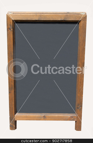 Blank wooden blackboard with copy space stock photo, Blank wooden blackboard with copy space isolated on white background. by Martin Crowdy