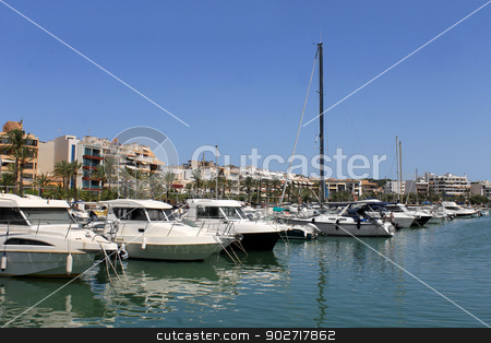 Boats moored in Alcudia harbor stock photo, Boats moored in Alcudia harbor, Majorca, Spain. by Martin Crowdy