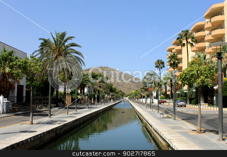 Canal in Alcudia town stock photo, Canal in Alcudia town on island of Majorca, Spain. by Martin Crowdy