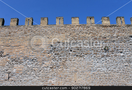 Castle battlements stock photo, Exterior of medieval castle showing battlements. by Martin Crowdy