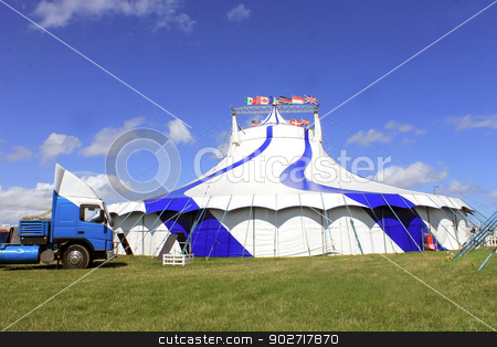 Circus big top tent 1 stock photo, Circus big top tent and truck, blue and white. by Martin Crowdy