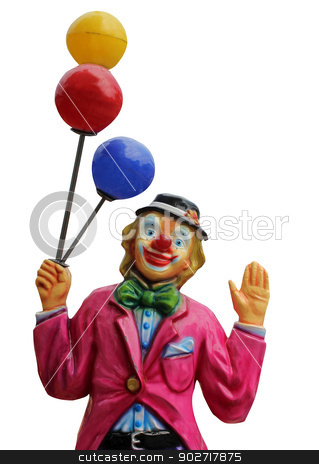 Circus clown with balloons stock photo, Model of circus clown with balloons isolated on a white background. by Martin Crowdy
