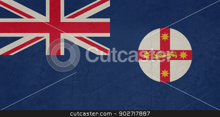 Grunge flag of New South Wales stock photo, Grunge flag of Australian state of New South Wales by Martin Crowdy