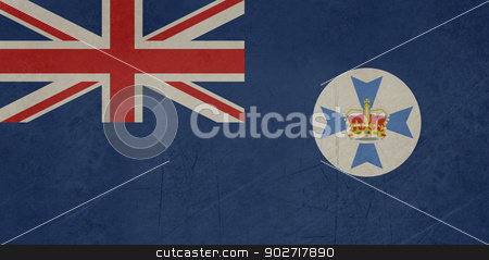 Grunge Queensland state flag stock photo, Grunge flag of the Australian state of Queensland by Martin Crowdy