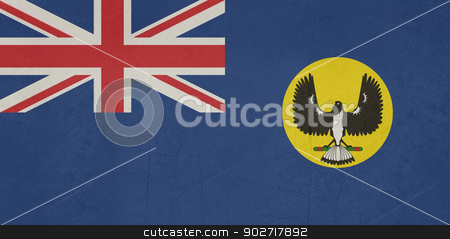 Grunge Southern Australia state flag stock photo, Grunge flag of the state of Southern Australia. by Martin Crowdy