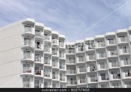 Hotel building stock photo, Exterior of white hotel building, Majorca, Spain. by Martin Crowdy