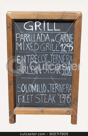 Mixed grill cafe sign stock photo, Mixed grill cafe sign on old wooden blackboard. by Martin Crowdy
