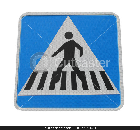 Pedestrian crossing sign stock photo, Pedestrian crossing sign isolated on white background. by Martin Crowdy