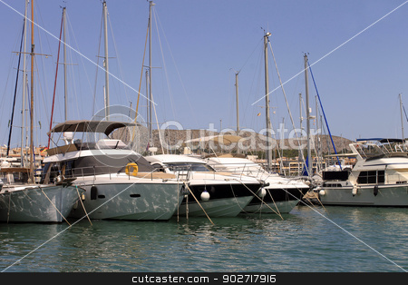 Sailboats moored in harbor stock photo, Sailboats moored in harbor, Alcudia, Majorca, Spain. by Martin Crowdy