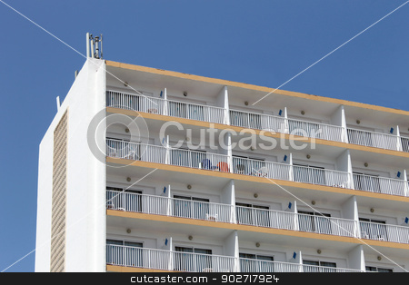 Tourist hotel stock photo, Exterior of modern Spanish tourist hotel. by Martin Crowdy