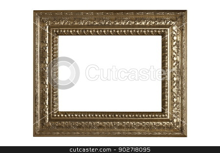 isolated ancient beautiful frame stock photo, very rare silver old frame isolated on white background by coroiu octavian