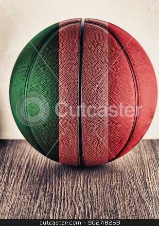Italy basketball stock photo, Close up of an old leather basketball with Italian flag by Fabio Alcini