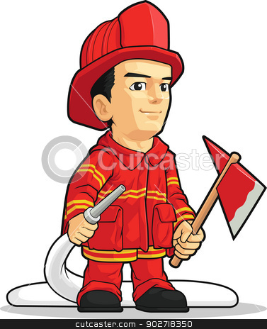 Cartoon of Firefighter Boy stock vector clipart, A vector image of a firefighter holding an axe and a water spray. Drawn in cartoon style, this vector is very good for design that need firefighter element or mascot in cute, funny, colorful and cheerful style.  Available as a Vector in EPS8 format that can be scaled to any size without loss of quality. Elements could be separated for further editing, color could be easily changed. by Husni Bramantyo