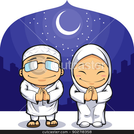 Cartoon of Muslim Man Woman Greeting Ramadan stock vector clipart, A vector image of a man & a woman in muslim cloth greeting ramadan. Drawn in cartoon style, this vector is very good for design that needs islamic element in cute, funny, colorful and cheerful style.  Available as a Vector in EPS8 format that can be scaled to any size without loss of quality. Good for many uses & application. Elements could be separated for further editing. Color easily changed. by Husni Bramantyo