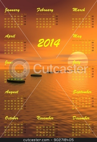 Meditation 2014 calendar - 3D render stock photo, 2014 calendar and grey stones steps upon ocean going to the sun by sunset in background by Elenarts