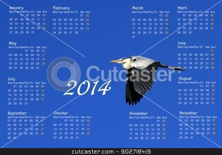 2014 english calendar with heron in flight stock photo, 2014 english calendar with great heron flying across a deep blue sky by sunrise by Elenarts