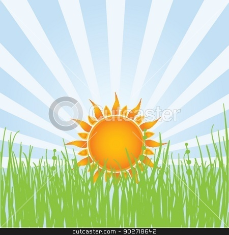 Sun over white - vector illustration stock photo, Sun over white - vector illustration by Maria Cherevan