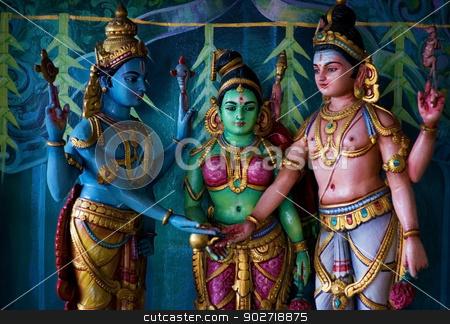 Indian temple stock photo, Colorful statue of Hindu God in Batu caves Indian Temple, Kuala Lumpur, Malaysia by szefei