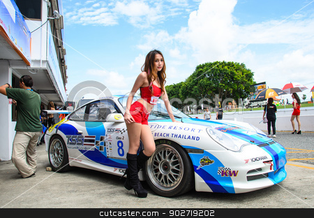 The Porsche 997 car stock photo, CHOUN BURI - AUGUST 18: The Porsche 997 car with Unidentified model on display at the Thailand Super Series 2013 Race 4 on August 18, 2013 at the Bira International Circuit, Thailand. by chatchai