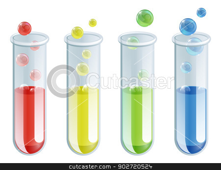 Cartoon Test Tubes stock vector clipart, An illustration of four different coloured test tubes with bubbling liquid in them by Christos Georghiou