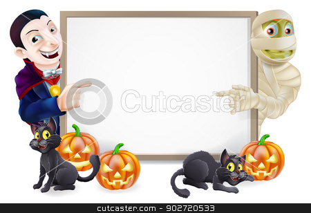 Halloween Sign with Mummy and Dracula stock vector clipart, Halloween sign or banner with orange Halloween pumpkins and black witches cats, witch's broomstick and cartoon Dracula vampire and mummy characters  by Christos Georghiou