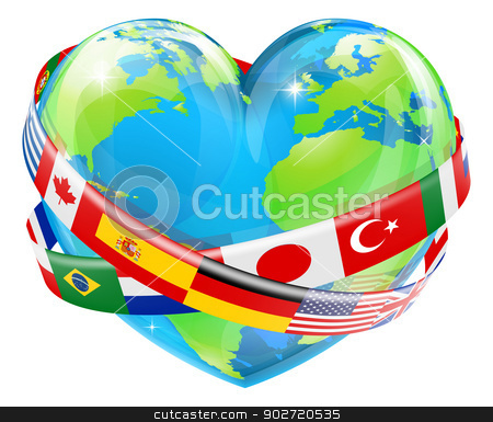 Heart globe with flags stock vector clipart, An illustration of a heart shaped world earth globe with the flags of many different countries flying around it.  by Christos Georghiou