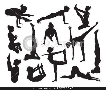 Yoga poses silhouettes stock vector clipart, A set of highly detailed high quality yoga pose silhouettes by Christos Georghiou
