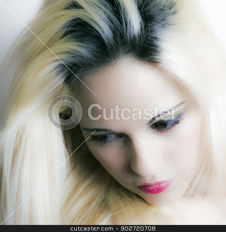 Beautiful blonde woman stock photo, high key portrait of stunning blonde woman by sijohnsen