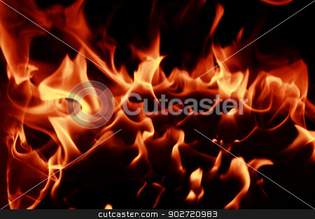 Fire flames stock photo, Fire flames with reflection on dark background by Nneirda