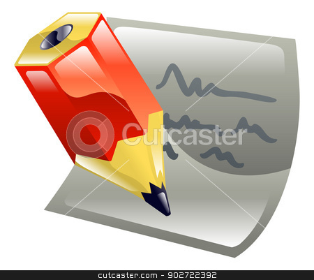 Pencil writing on paper icon clipart stock vector clipart, Pencil writing on paper icon clipart by Christos Georghiou