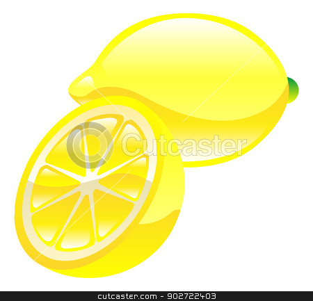 Illustration of lemon fruit icon clipart stock vector clipart, Illustration of lemon fruit icon clipart by Christos Georghiou