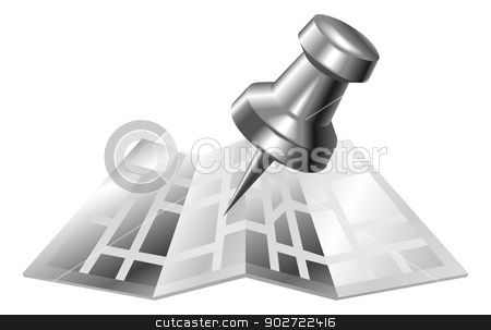 Illustration of shiny metal steel map and pin icon stock vector clipart, Illustration of shiny metal steel map and pin icon by Christos Georghiou