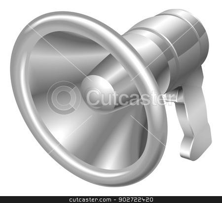 Illustration of shiny metal steel megaphone bullhorn icon stock vector clipart, Illustration of shiny metal steel megaphone bullhorn icon by Christos Georghiou