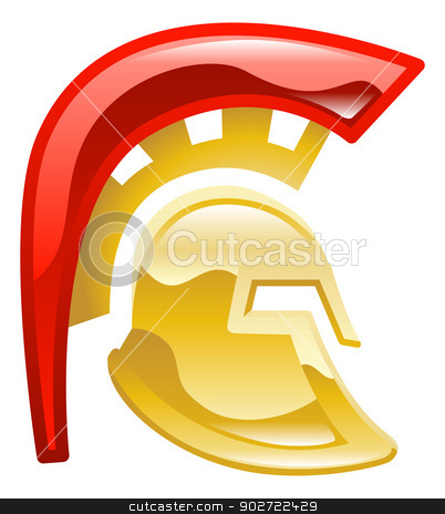 Trojan spartan or galadiator helmet stock vector clipart, Trojan spartan or galadiator helmet by Christos Georghiou